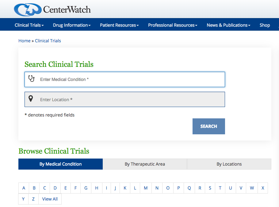 CenterWatch clinical trials search powered by iConnect 2.0